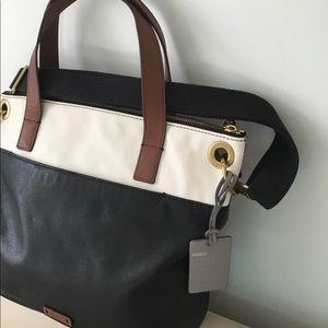 Fossil Black & White Genuine Leather Bag
